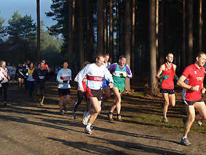 Ronan O'Carroll of Fanham Runners in a group of runners in the Bourne Woods during the 2005 TRXCL race at Farnham