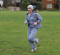 Benita Mayhead winning the the 2006 Club Handicap race dressed in pyjamas