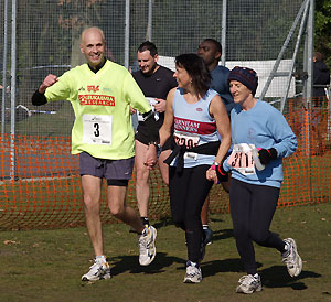 John Applebee punches the air in jubilation as he completes three laps of the 2006 Fleet Half Marathon course