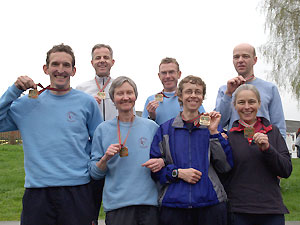 Farnham Runners with their 2006 London Marathon medals