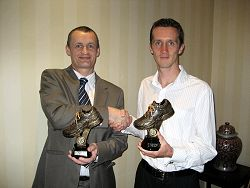 Bob Brimicombe and Mike Ashworth with their special 2009 Grand Prix trophies