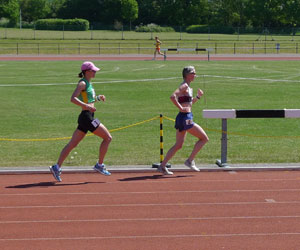Jane Georghiou running in the British Masters 2010 10km Track Championship in Oxford