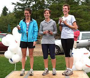 Farnham Runners ladies10K team winners on the podium at the 2011 Alice Holt races
