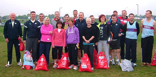 Farnahm Runners group at Greenwich before start of 2011 London Marathon