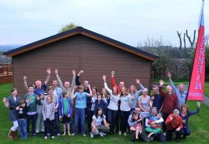 Farnham Runners, friends and families celebrating in the evening after the 1066 relay race in 2012