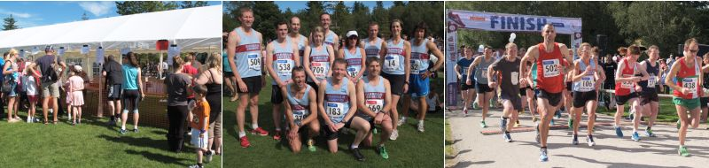 Scenes from Alice Holt Forest Races 2012, left to right, race HQ, Farnham Runners group before race, start of 10K race