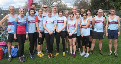 Some of the Farnham Runners team before the 2012 TRXCL race at Staunton Country Park