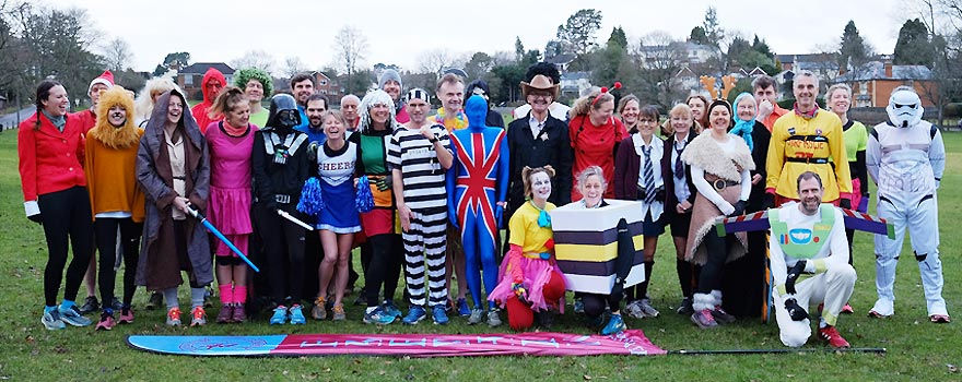 Group in fancy dress before the start of the race