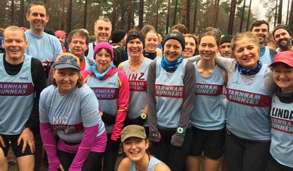 Group of Farnham Runners before start of 2017 SXCL race in Farnham