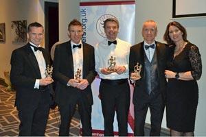2019 Mens Grand Prix winners Harvey Wickham, Ali Hardaway, Andrew Ellison, Matt Saker, with Jacquie Browne