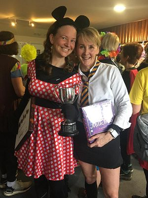 Winner Emma Campbell as Minnie Mouse, and Runner up, Hannah Bence as St Trinians pupil