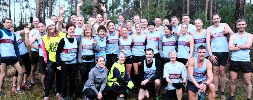 Farnham Runners group before start of 2019 SXCL race at The Bourne, Farnham