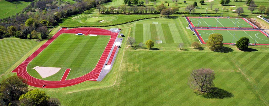 Aerial view of Chartehouse School athletics track and playing fields