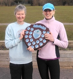 Jane Georghiou and Sue Boxall with the TRXCL shield for the 2009-10 series