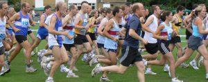 Runners starting Overton 5m race