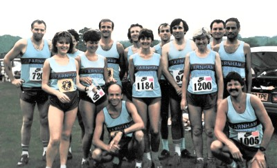 Farnham Runners group at New Forest 10 in 1986