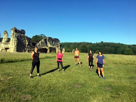 Runners on Covid training run at Waverley Abbey