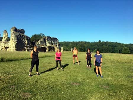 Runners on Covid training run at Waverley Abbey