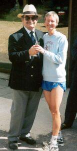 Jane Georghiou receiving trophy at 2001 Alice Holt 10K