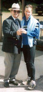 Farnham Runner receiving trophy at 2001 Alice Holt 10K