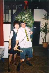 Lindsay and Stoofer in fancy dress at 2001 Xmas Party