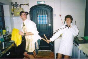 Members in fancy dress at 2001 Xmas Party