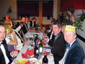 Members at 2002 Xmas part with a James Bond theme