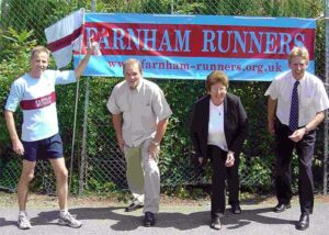 Race Director Charles Ashby and sponsors announcing the 2003 Alice Holt 10K