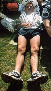Teery Steadman relaxing after the 2003 London Marathon