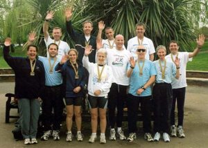 Group with medals after the 2003 London Marathon