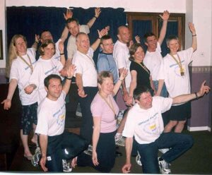 Grup with medals at the club supper after the 2003 London Marathon