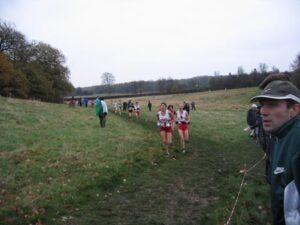 Farnham Runner Jane Georghiou running in the 2004 British Masters Cross Country International
