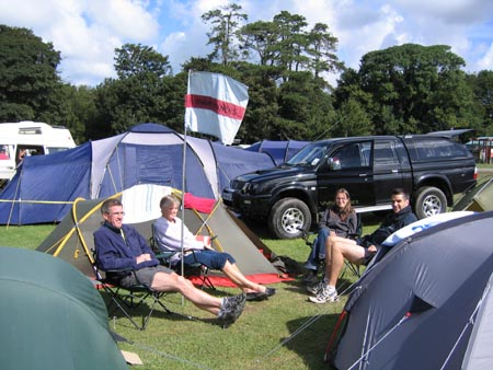 Members at campsite in Tywyn for the 2004 Race the Train event