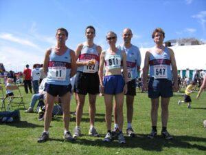 Farnham Runners team Members at the 2004 Race the Train event