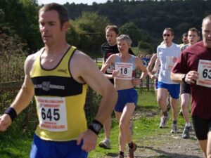 Jane Georghiou running in 2005 Butser Hill Fell Race