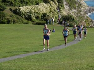 Jane Georghiou running in the 2005 Isel of Wight Fell Races