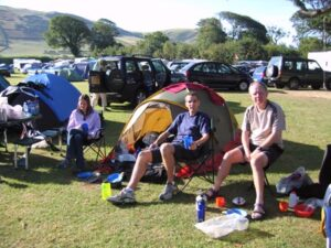Farnham Runners at the 2005 Race the Train event campsite in Tywyn