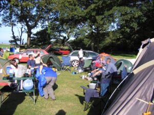 Farnham Runners team at the 2005 Race the Train event campsite in Tywyn