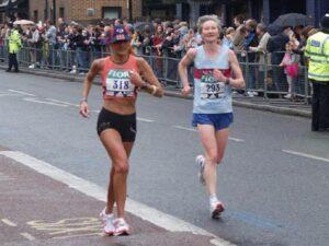 Jane Georghiou running in the 2006 London Marathon