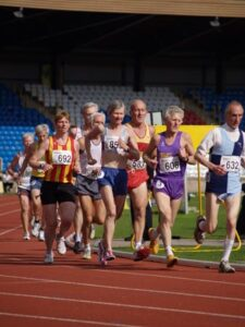 Jane Georghiou running in the 2007 British Master Athletics Championships