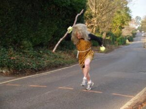 Howard Inns dressed as a cave man starting the 2008 Club Handicap