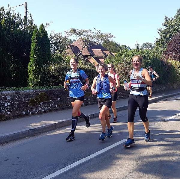 Emma Dawson, Linda Tyler and Billy McCulloch, during the 2020 Pilgrims marathon
