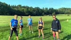 A group of Farnham Runners at the start of the full 2020 Pilgrims marathon