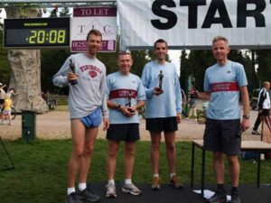 Mens team receiving trophies at the 2008 Alice Holt 10K