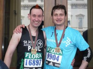 Members with medals after 2008 London Marathon