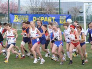 Jane Georghiou starts the 2008 World Masters Athletics Championships cross country race