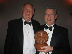 Hillary Carter receiving Smiley trophy at the 2009 Annual Awards Dinner