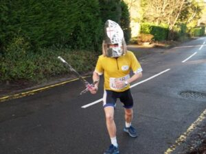 Andrew Ellison dressed as a knight at 2012 Club Handicap