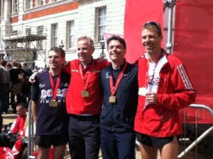 Group at 2012 London Marathon with their medals