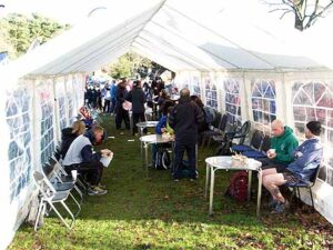 Runners eating lunch at the 2014 SXCL race at Farnham